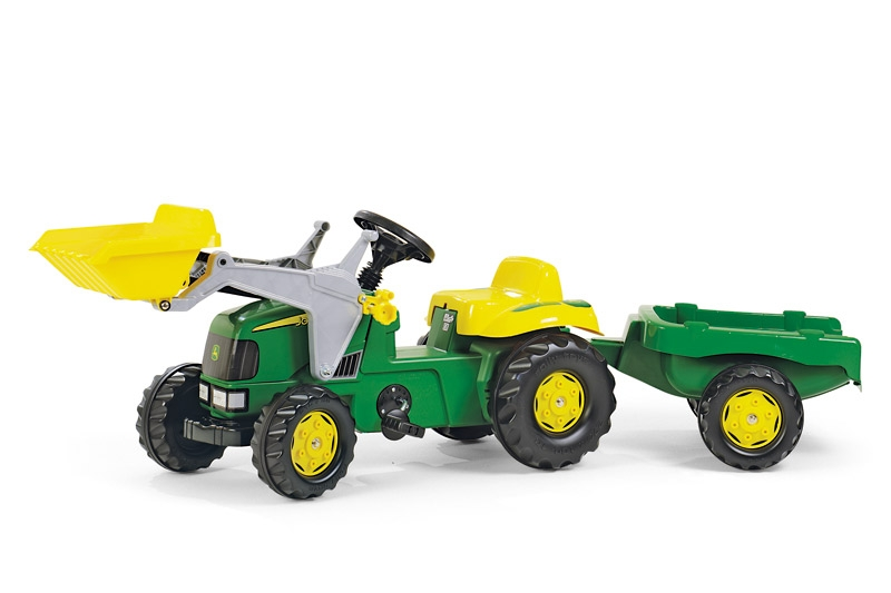John Deere Rolly Kid Pedal Tractor With Frontloader Amp Trailer